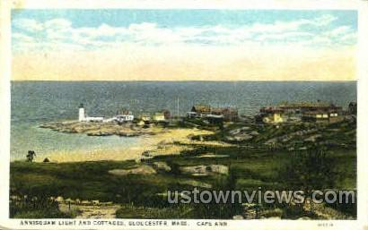Annisquam Light & Cottages - Gloucester, Massachusetts MA Postcard