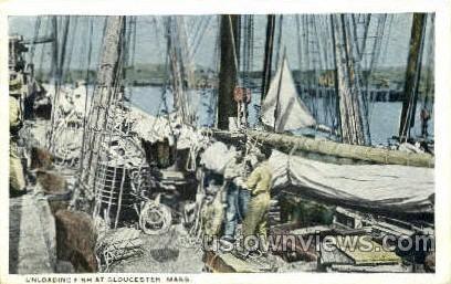 Unloading - Gloucester, Massachusetts MA Postcard