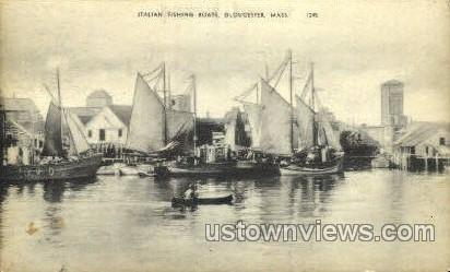 Italian Fishing Boats - Gloucester, Massachusetts MA Postcard