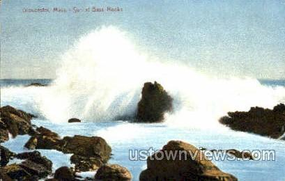 Surf, Bass Rocks - Gloucester, Massachusetts MA Postcard