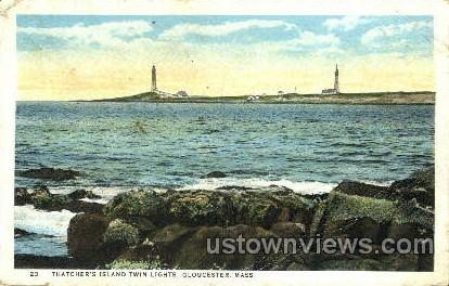 Thatcher's Island Twin Lights - Gloucester, Massachusetts MA Postcard