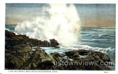 Surf & Rocks, Bass Rocks - Gloucester, Massachusetts MA Postcard