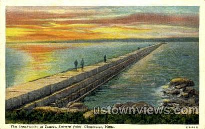 The Breakwater, Eastern Point - Gloucester, Massachusetts MA Postcard