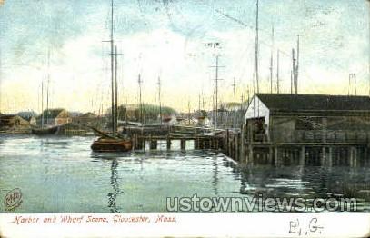 Harbor & Wharf - Gloucester, Massachusetts MA Postcard