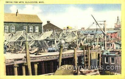 Drying Fish Nets - Gloucester, Massachusetts MA Postcard