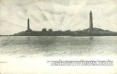 Twin Lights, Thatcher's Island - Gloucester, Massachusetts MA Postcard