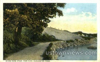 Shore Road, Stage Fort Park - Gloucester, Massachusetts MA Postcard