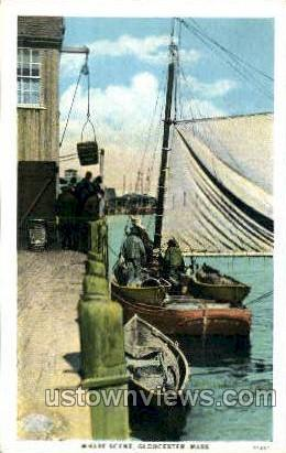 Wharf Scene - Gloucester, Massachusetts MA Postcard