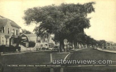 The Circle, Western Ave. - Gloucester, Massachusetts MA Postcard