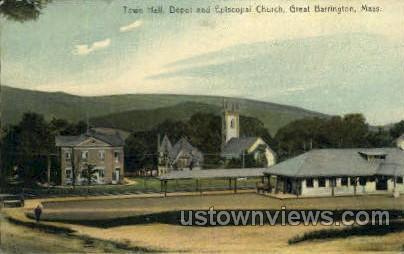Town Hall, Depot - Great Barrington, Massachusetts MA Postcard