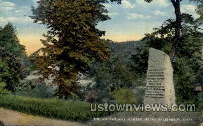Indian Forway Marker - Great Barrington, Massachusetts MA Postcard