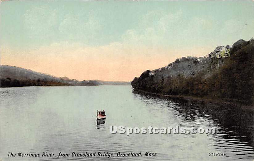 The Merrimac River - Groveland, Massachusetts MA Postcard