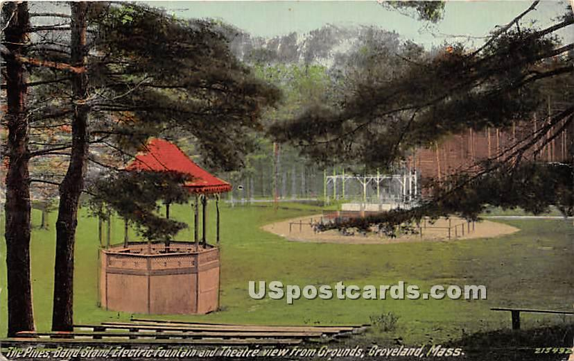 The Pines Band Stand & Electric Fountain - Groveland, Massachusetts MA Postcard