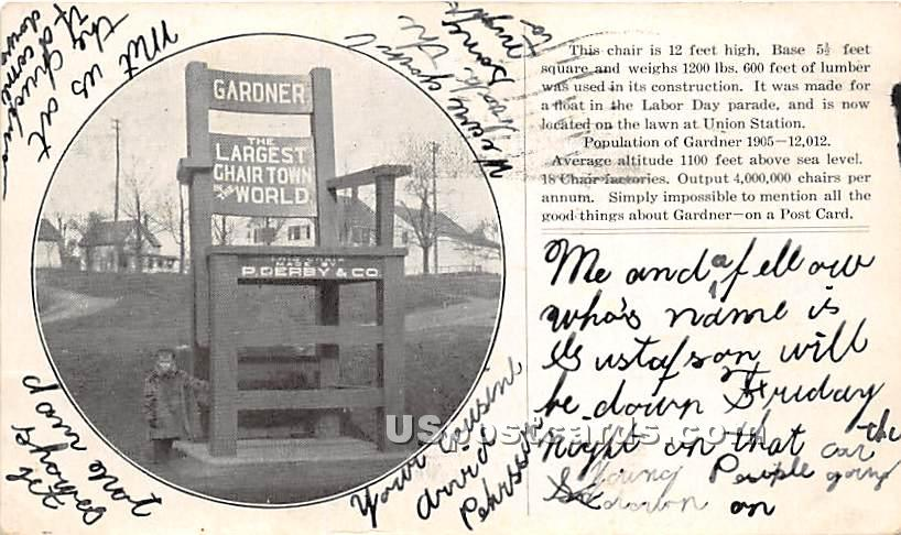 The Largest Chair in the World - Gardner, Massachusetts MA Postcard