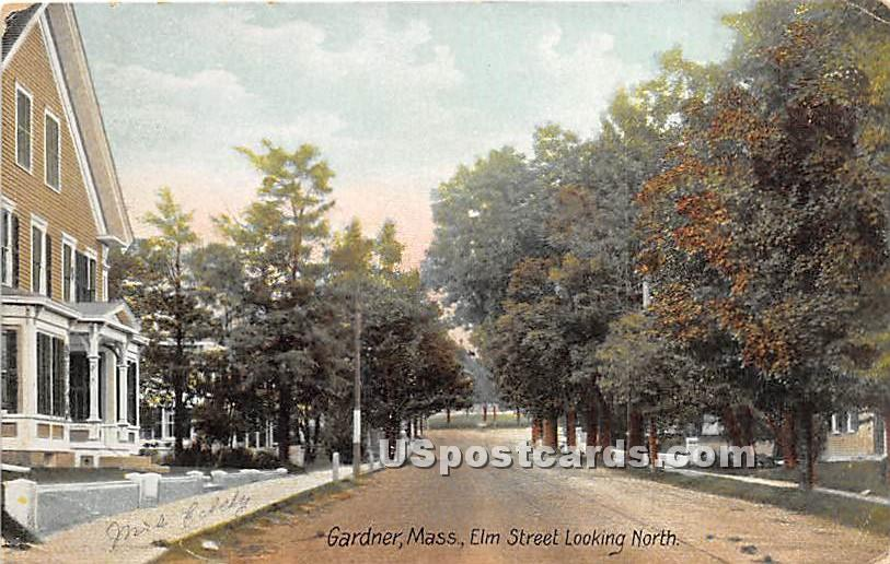 Elm Street looking North - Gardner, Massachusetts MA Postcard