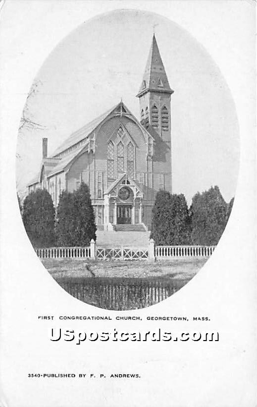 First Congregational Church - Georgetown, Massachusetts MA Postcard