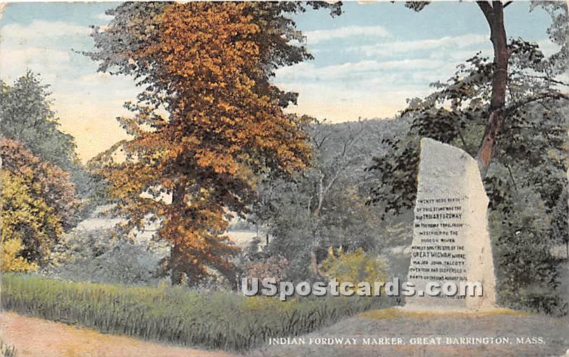 Indian Fordway Marker - Great Barrington, Massachusetts MA Postcard