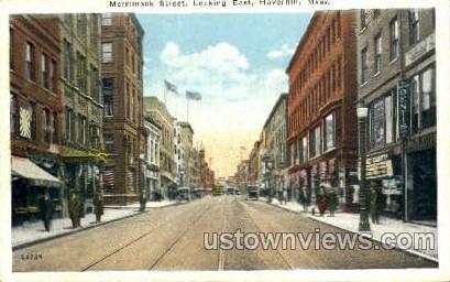Merrimack St. - Haverhill, Massachusetts MA Postcard