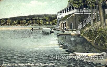 Boat House, Hampton Ponds - Holyoke, Massachusetts MA Postcard