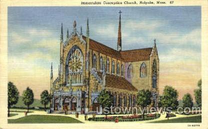 Immaculate Conception Church - Holyoke, Massachusetts MA Postcard