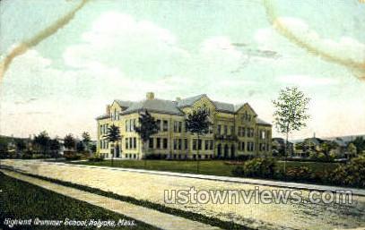 Highland Grammar School - Holyoke, Massachusetts MA Postcard