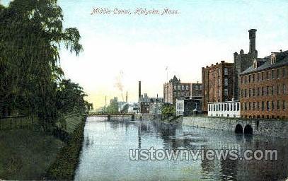 Middle Canal - Holyoke, Massachusetts MA Postcard