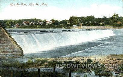 Holyoke Dam - Massachusetts MA Postcard