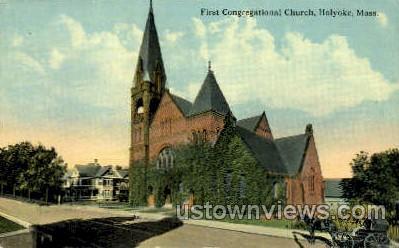 First Congregational Church - Holyoke, Massachusetts MA Postcard