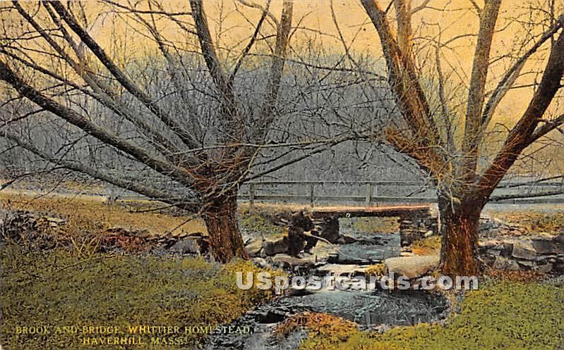 Brook & Bridge - Haverhill, Massachusetts MA Postcard