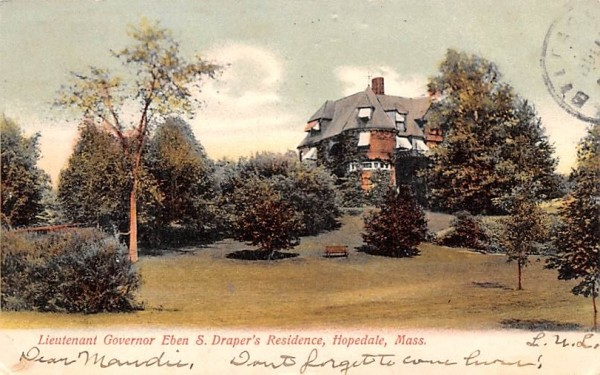 Lieutenant Governor Eben S. Draper's Residence Hopedale, Massachusetts Postcard