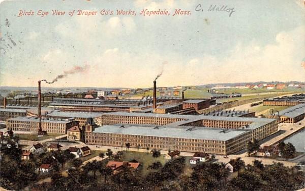 Birds Eye View of Draper Co's Works Hopedale, Massachusetts Postcard