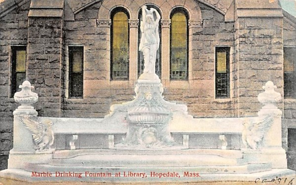 Marble Drinking Fountain at Library Hopedale, Massachusetts Postcard