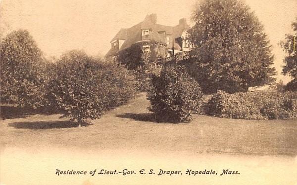 Residence of Lieut.-Gov. E.S. Draper Hopedale, Massachusetts Postcard