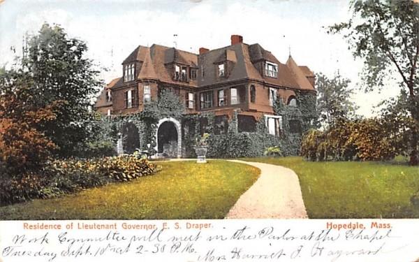 Residence of Lieutenant Governor E. S. Draper Hopedale, Massachusetts Postcard