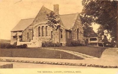 The Memorial Library Hopedale, Massachusetts Postcard