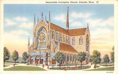 Immaculate Conception Church Holyoke, Massachusetts Postcard