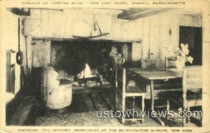 Parlour, Hart House - Ipswich, Massachusetts MA Postcard