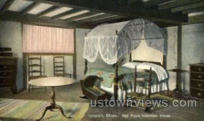 Bed Room, Historical House - Ipswich, Massachusetts MA Postcard
