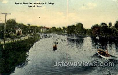 Ipswich River, Green St Bridge - Massachusetts MA Postcard