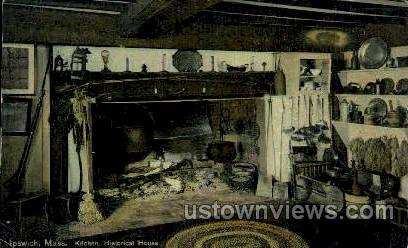Kitchen, Historical House - Ipswich, Massachusetts MA Postcard