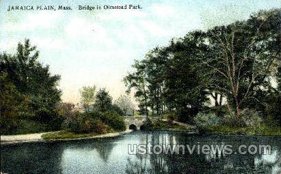Bridge, Olmstead Park - Jamaica Plain, Massachusetts MA Postcard