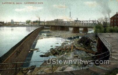 Lawrence Dam - Massachusetts MA Postcard