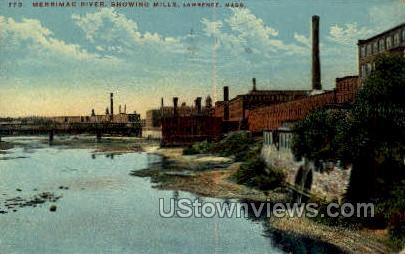 Merrimac River - Lawrence, Massachusetts MA Postcard