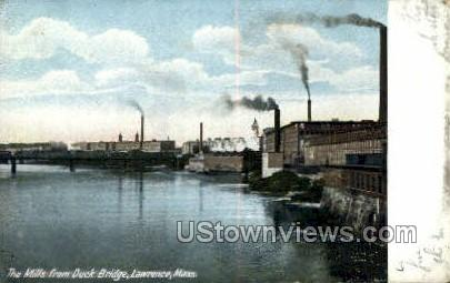Mills, Duck Bridge - Lawrence, Massachusetts MA Postcard