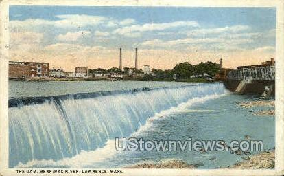Dam, Merrimack River - Lawrence, Massachusetts MA Postcard