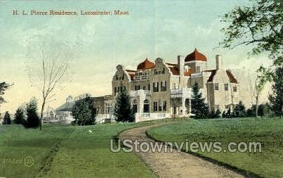 H. L. Pierce Residence - Leominster, Massachusetts MA Postcard