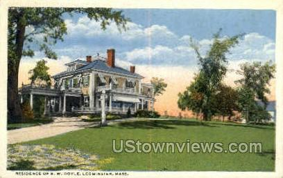 Residence of B.W. Doyle - Leominster, Massachusetts MA Postcard