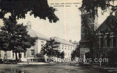 City Hall & Baptist Church - Leominster, Massachusetts MA Postcard