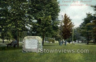 Central Park, Memorial Boulder - Leominster, Massachusetts MA Postcard
