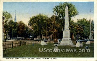 Monument Park, Soldiers Monument - Leominster, Massachusetts MA Postcard